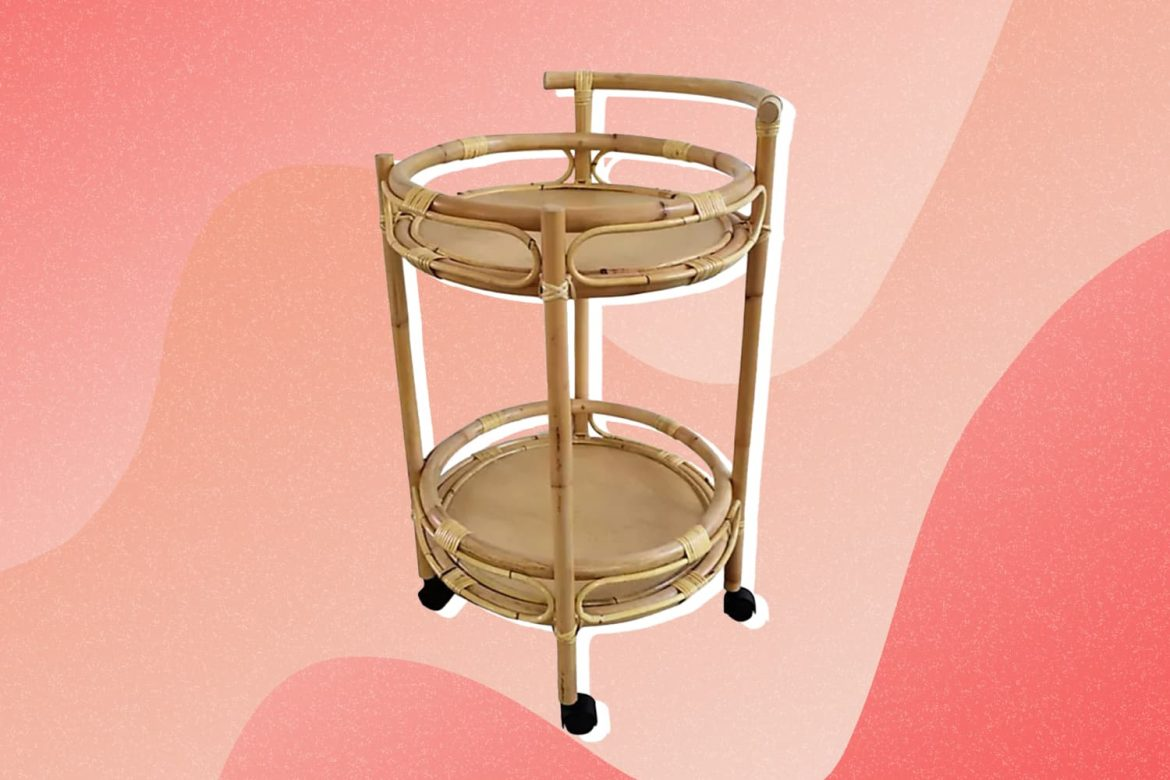 This Chic Bed Bath & Beyond Bar Cart Is a Must-Have for Rattan Lovers and Plant Parents