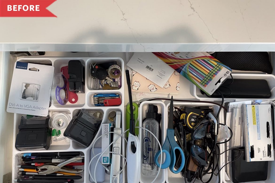 Before & After: A Kitchen Junk Drawer Gets Organized in Just One Hour