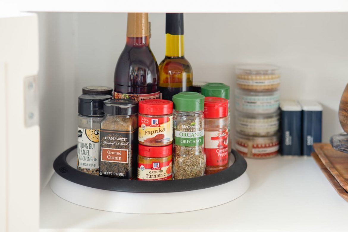 """I Own 8 Lazy Susans — Here's How I Use Them All to Organize My """"Charleston Single"""" Kitchen"""